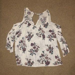 Cold shoulder three-quarter floral shirt